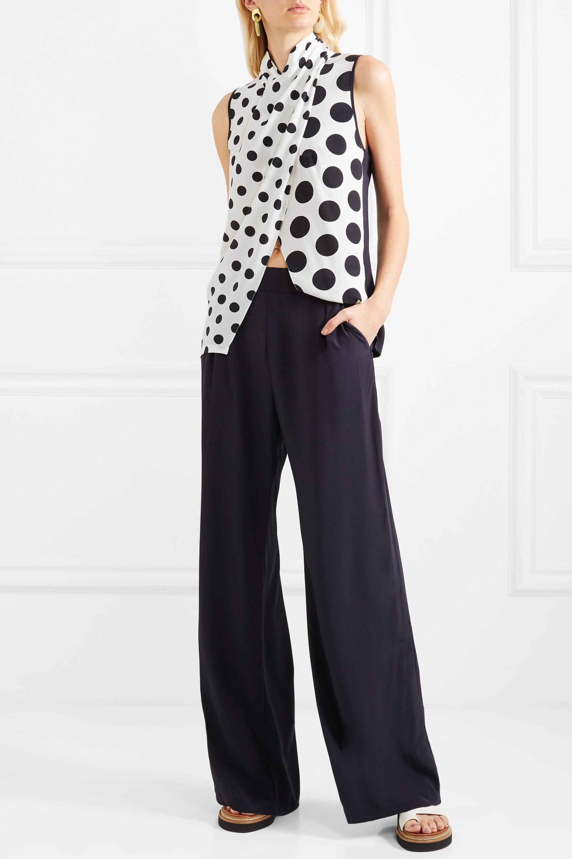 Mother of Pearl + NET SUSTAIN and BBC Earth Nyler polka-dot silk-crepe top