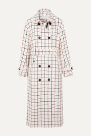 MUNTHE Hamburg belted double-breasted checked twill trench coat