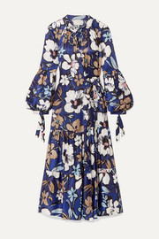 MUNTHE Hilda ruffled floral-print satin wrap dress