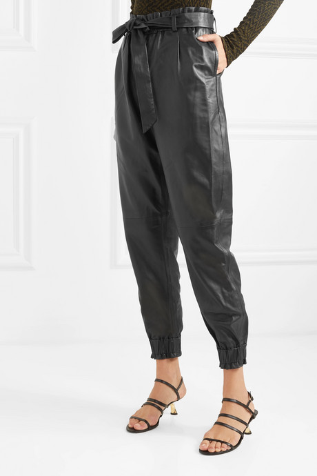 Houdini belted tapered leather pants