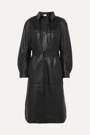MUNTHE Hazel belted leather shirt dress
