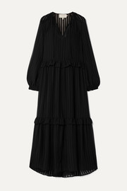 MUNTHE Homework ruffled striped chiffon maxi dress
