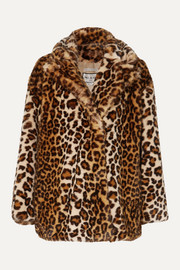 Caban leopard-print faux fur coat