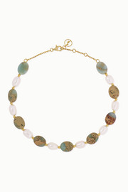 Gold-plated, serpentine and pearl anklet