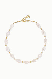 Gold-plated pearl anklet