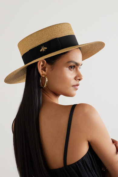 050cdc9ce30 Grosgrain-trimmed glittered straw hat