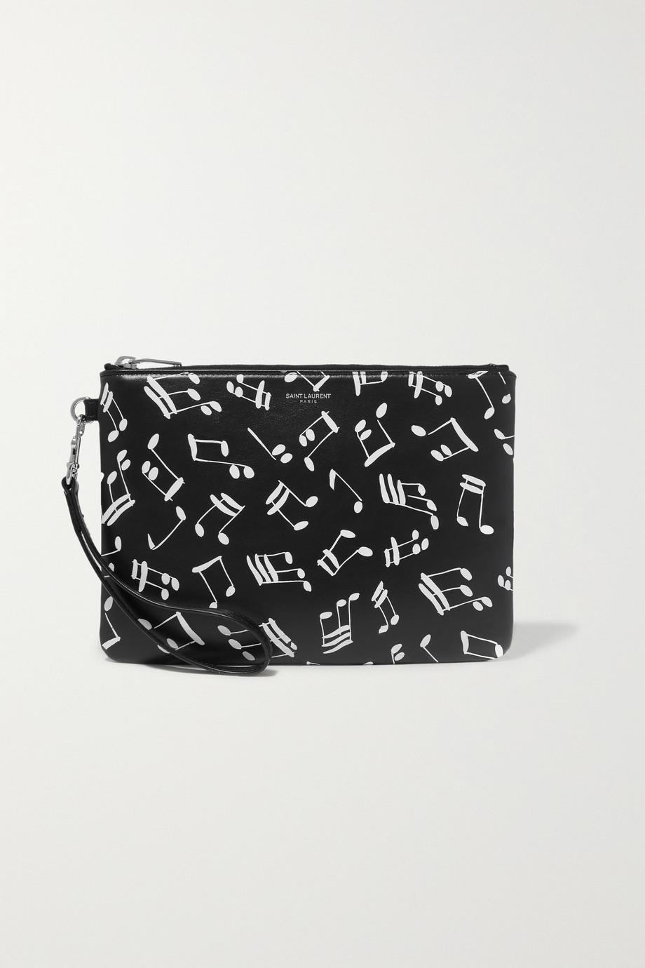 SAINT LAURENT Printed leather pouch