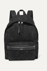 City embroidered leather-trimmed canvas backpack