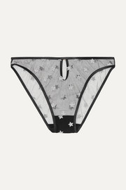 Souci glittered stretch-tulle briefs