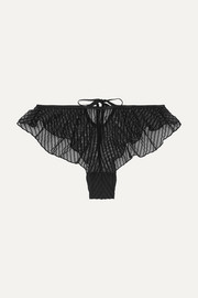 Fidelite ruffled glittered flocked stretch-tulle briefs