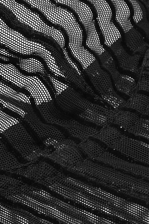Le Petit Trou Fleur glittered flocked stretch-tulle underwired bra
