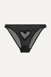 Coeur cutout glittered flocked stretch-tulle briefs