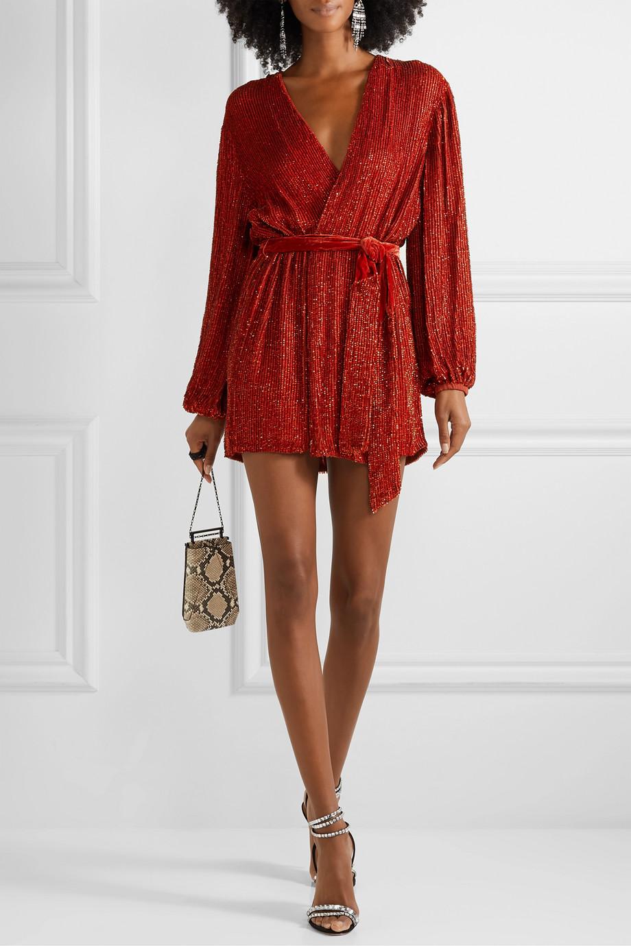 Retrofête Mini-robe portefeuille en mousseline et en velours à sequins Gabrielle