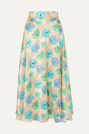 Floral-print silk-satin wrap midi skirt