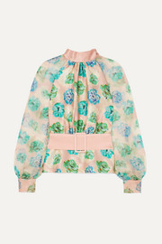 Open-back floral-print silk-satin and crepon blouse