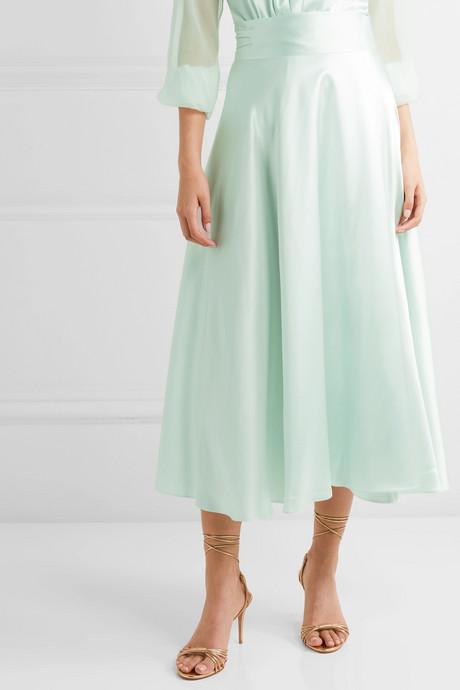 Silk-satin wrap midi skirt