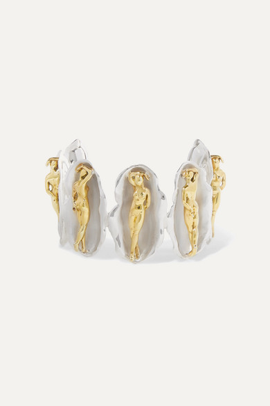 PAOLA VILAS   Paola Vilas - Venus Silver And Gold-Plated Cuff - One Size   Goxip