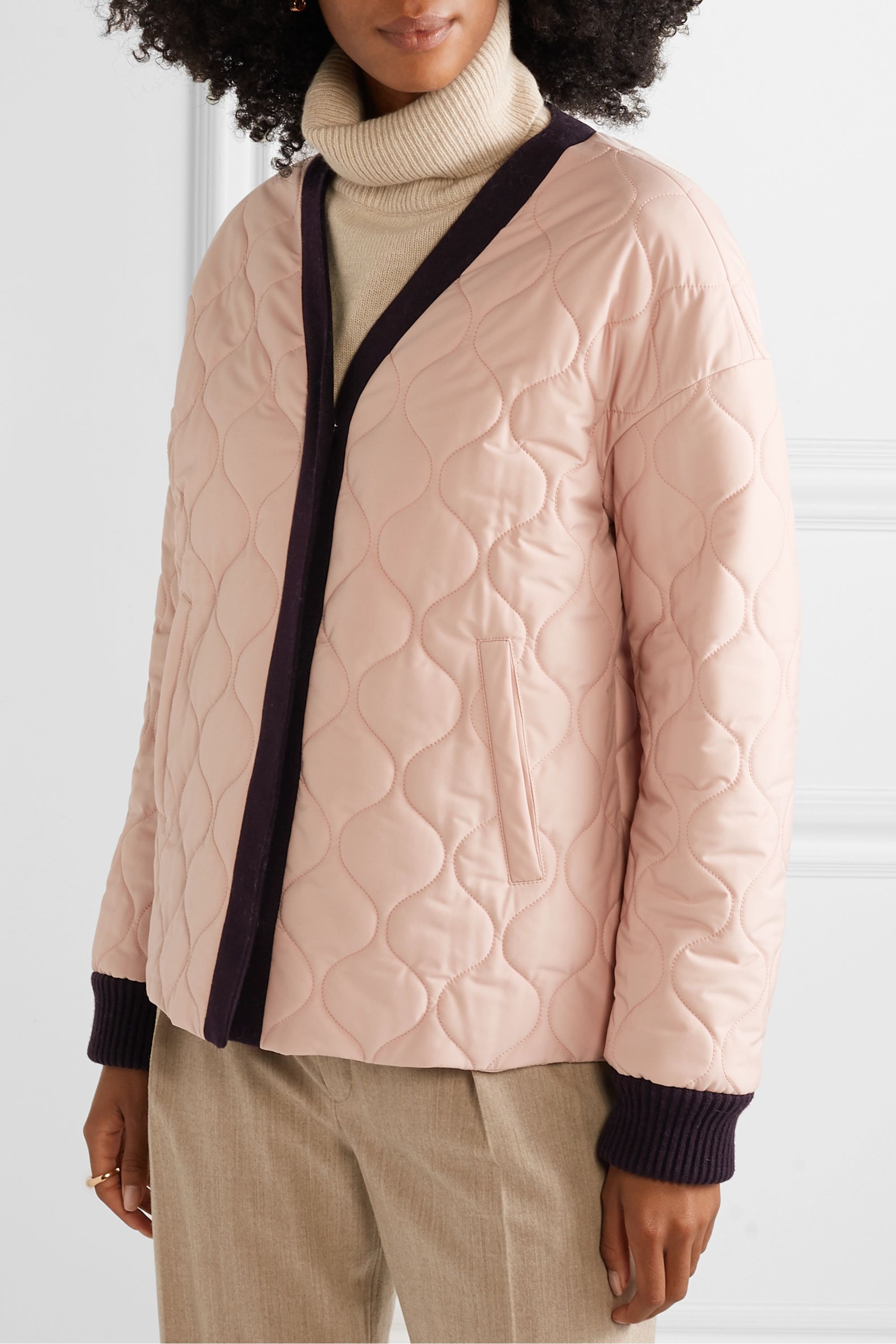 Loro Piana Convertible leather-trimmed cashmere and quilted shell coat
