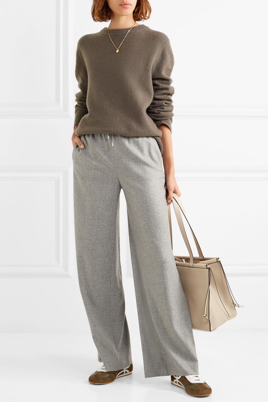 Loro Piana Cashmere-blend wide-leg track pants