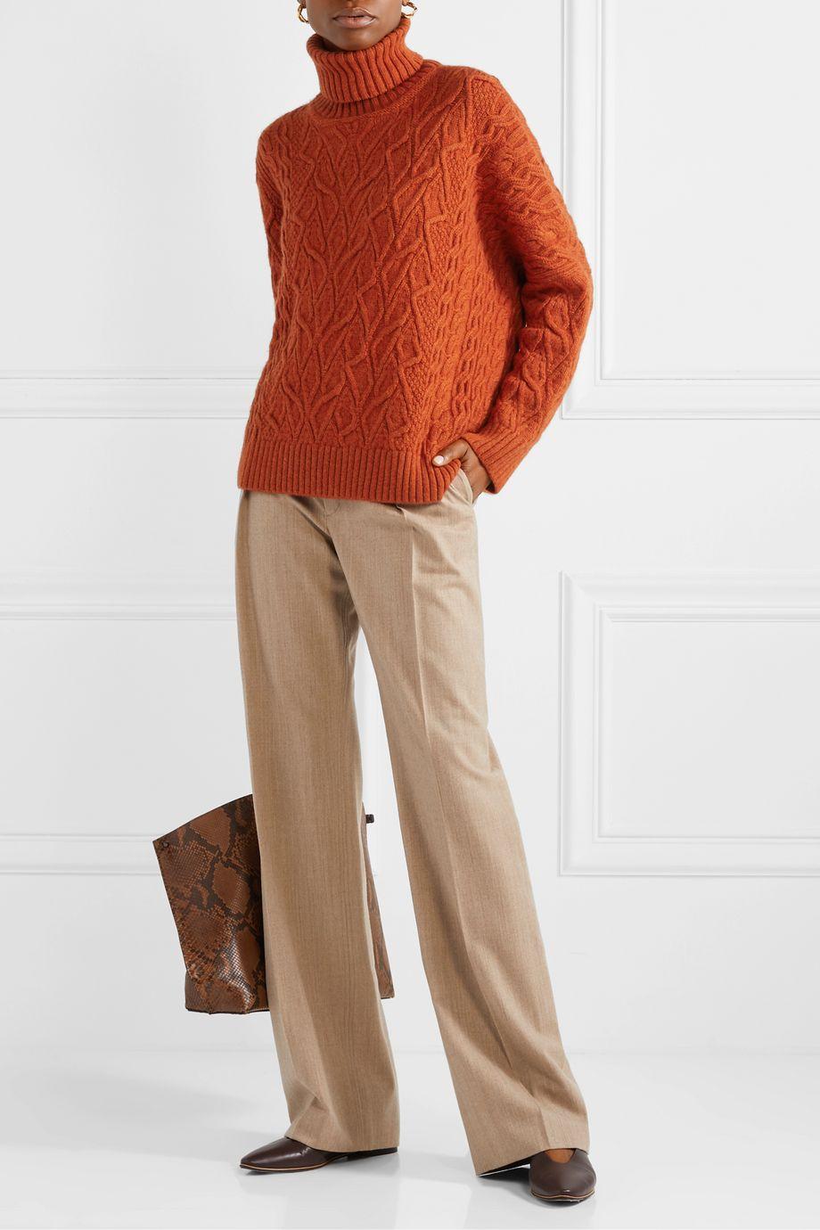 Loro Piana 绞花针织羊绒高领毛衣