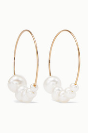Saskia Diez Gold pearl hoop earrings