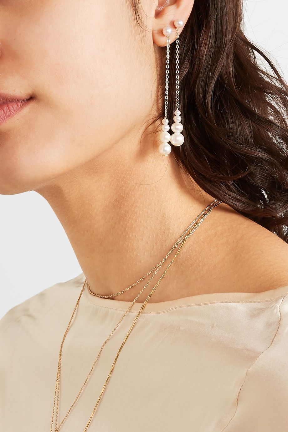 unknown Ohrringe aus Gold mit Perlen