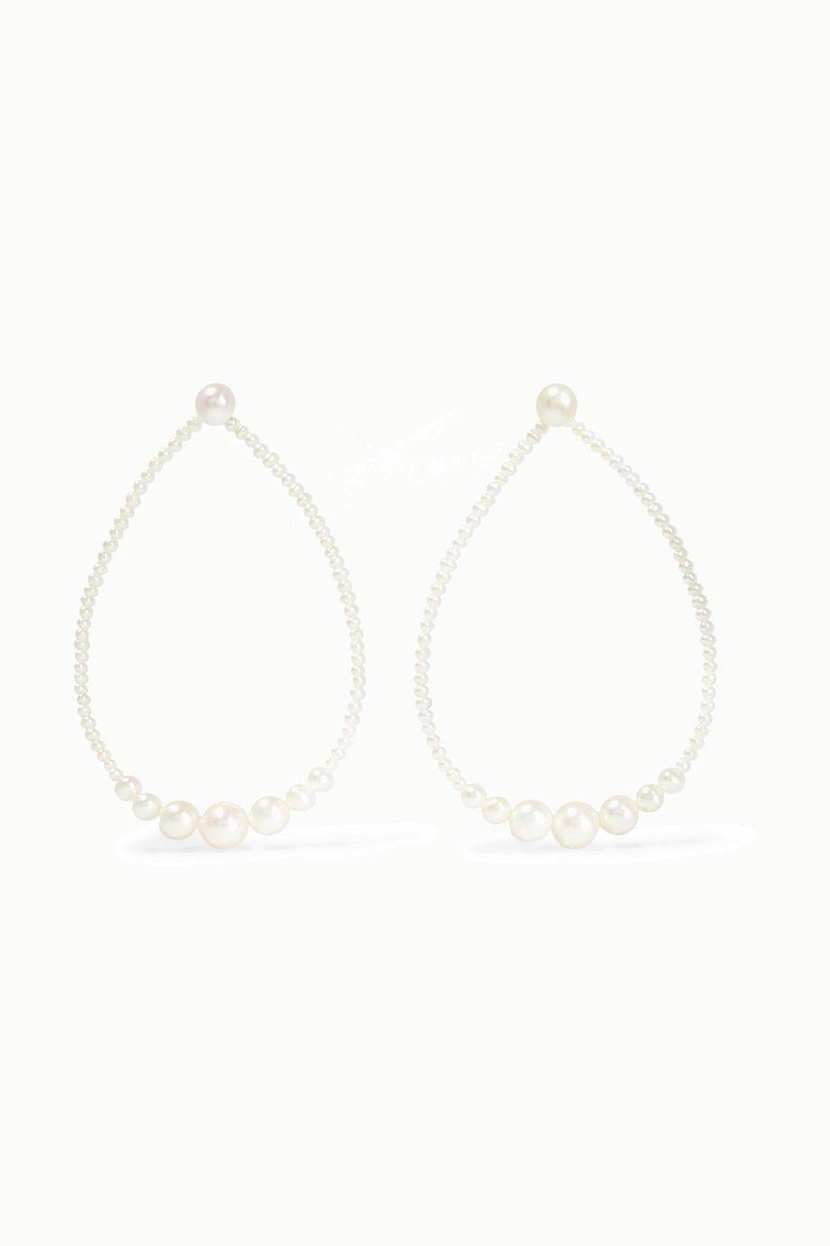 Saskia Diez Gold pearl earrings