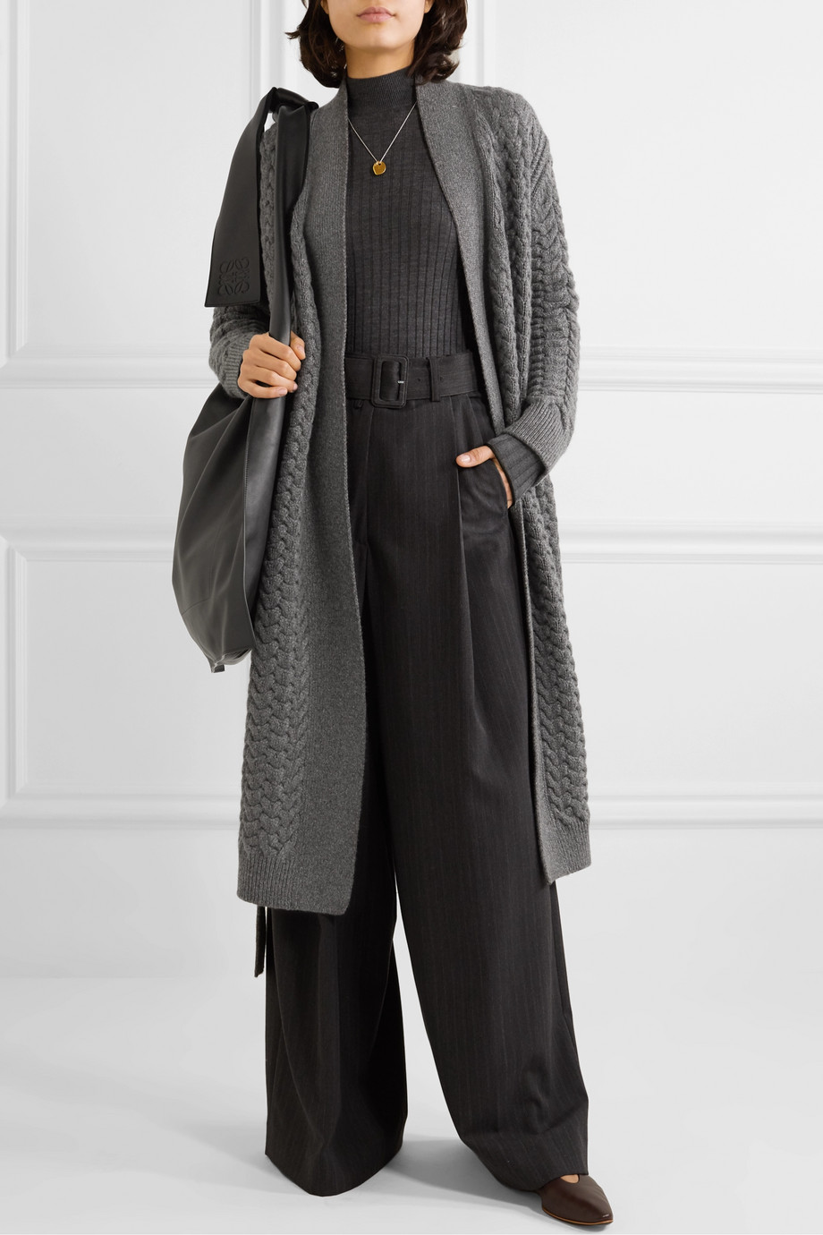Loro Piana Belted cable-knit cashmere cardigan