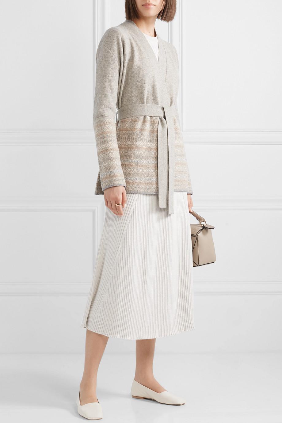 Loro Piana 配腰带费尔岛式杂色图案针织羊绒开襟衫