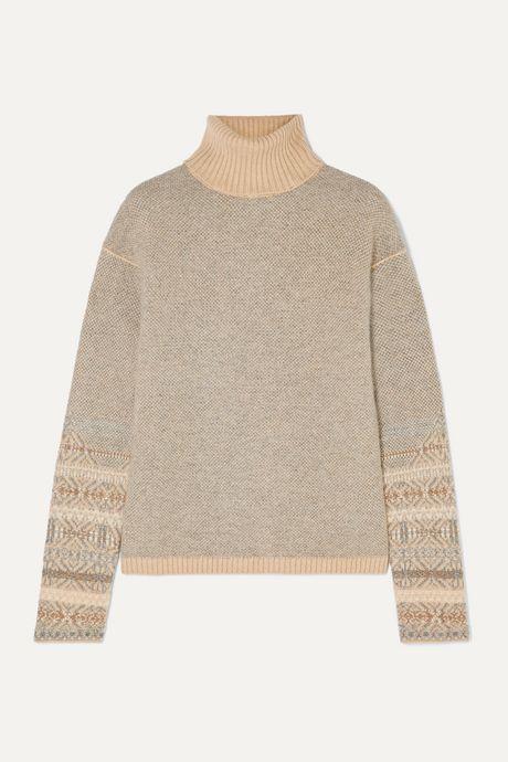 Light gray Fair Isle cashmere turtleneck sweater   Loro Piana Rjh8fr