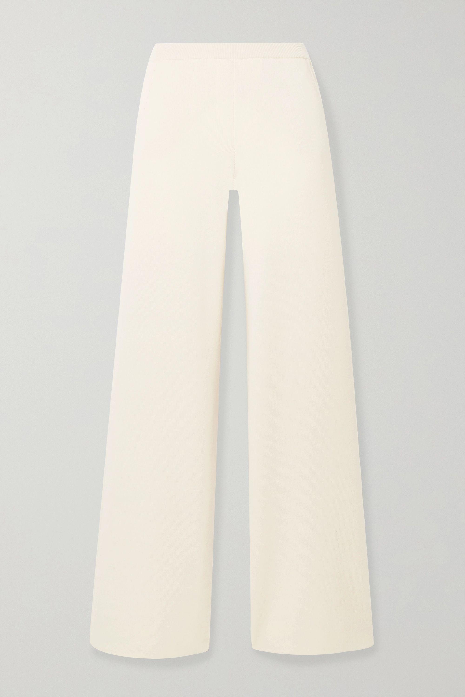 Loro Piana Pointelle-detailed cashmere wide-leg pants