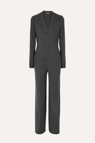 Loro Piana Suits Leather-trimmed cashmere jumpsuit