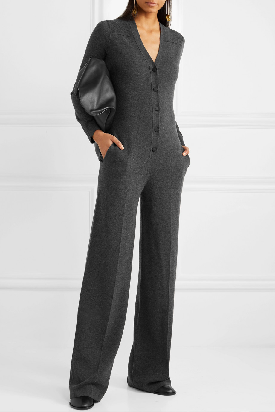 Loro Piana Leather-trimmed cashmere jumpsuit