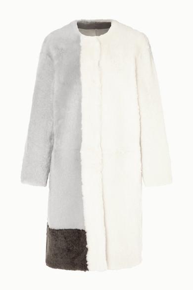 Color Block Shearling Coat by Karl Donoghue