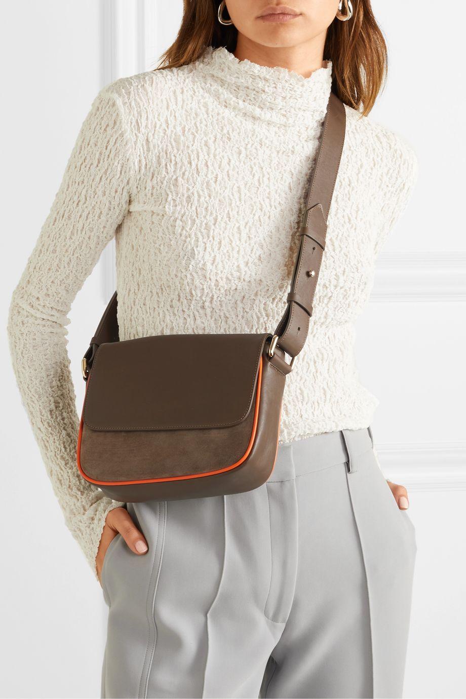 ZOOBEETLE Paris Dauphine Madame leather and suede shoulder bag