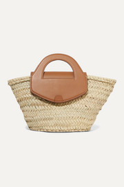 HEREU + NET SUSTAIN Alqueria leather-trimmed woven straw tote