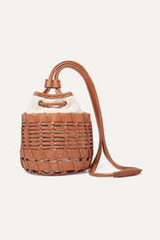 HEREU + NET SUSTAIN Siana leather and organic cotton-canvas bucket bag