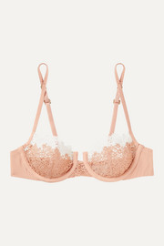 Agnese macramé and stretch-silk underwired soft-cup bra