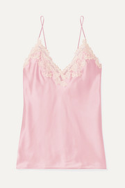 Maison embroidered lace-trimmed silk-blend satin camisole