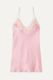 Maison embroidered lace-trimmed silk-blend satin chemise