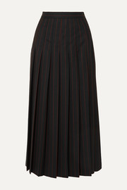 McQ Alexander McQueen Paneled pleated pinstriped grain de poudre and wool skirt