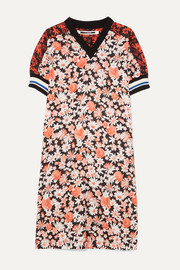 McQ Alexander McQueen Paneled floral-print crepe and checked flannel midi dress
