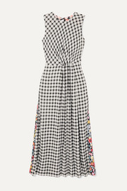 McQ Alexander McQueen Paneled checked flannel and floral-print crepe midi dress