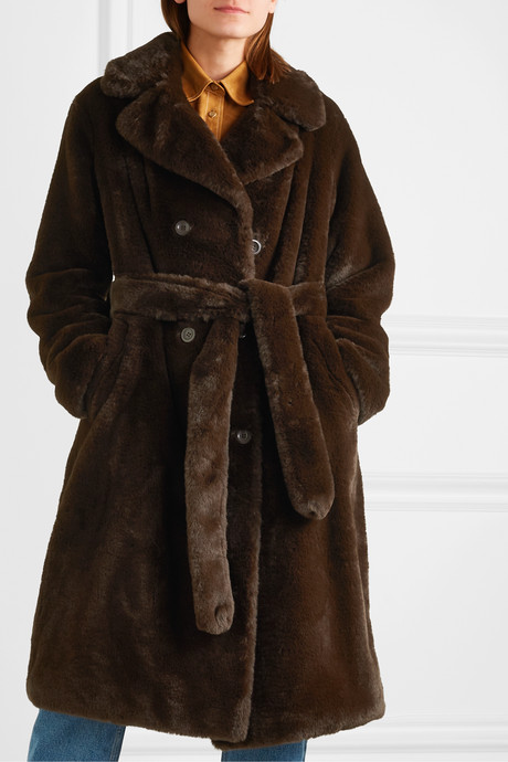 Faustine oversized belted double-breasted faux fur coat