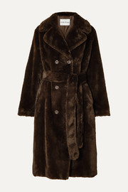 Stand Studio Faustine oversized belted double-breasted faux fur coat