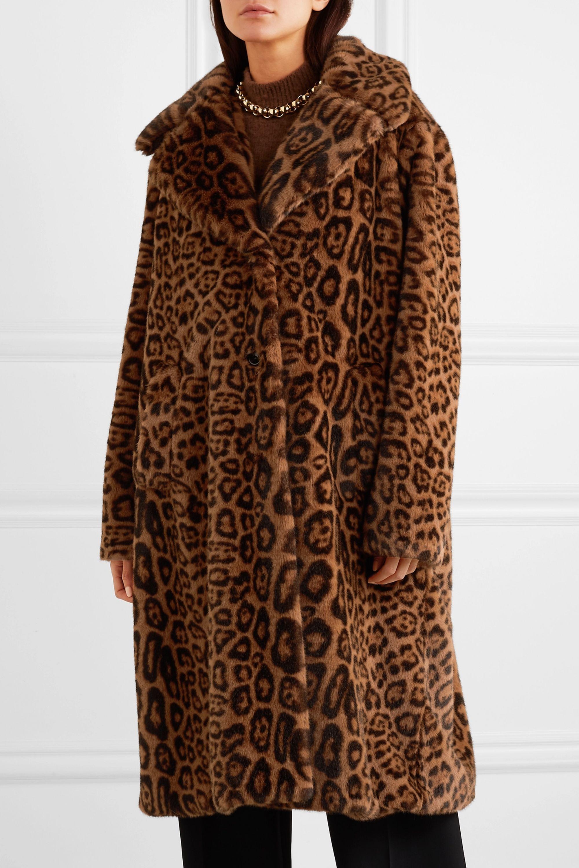 Stand Studio Fanny leopard-print faux fur coat