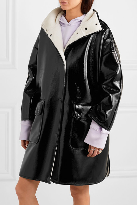 Vanessa oversized faux fur-lined glossed faux leather coat
