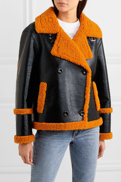 Lilli faux shearling-trimmed glossed faux leather jacket