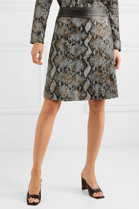Elene snake-effect leather wrap skirt