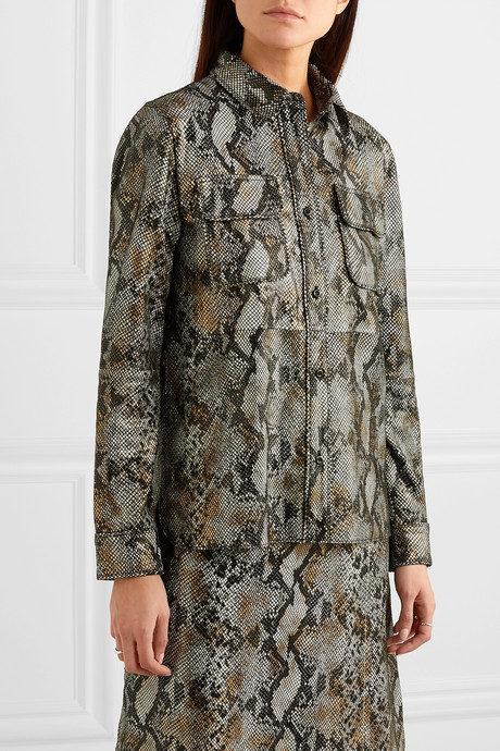 Idit snake-effect leather shirt
